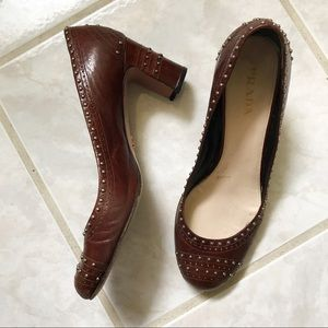 Pre-owned Prada round toe studded heels